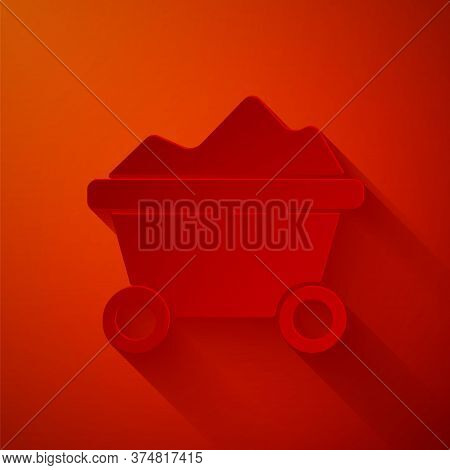Paper Cut Coal Mine Trolley Icon Isolated On Red Background. Factory Coal Mine Trolley. Paper Art St