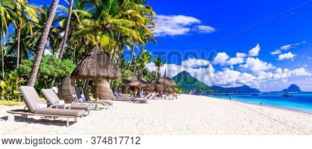 Tropical beach scenery . vacation in paradise island Mauritius, Flic en Flac beach