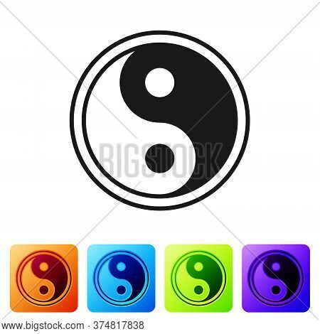 Black Yin Yang Symbol Of Harmony And Balance Icon Isolated On White Background. Set Icons In Color S