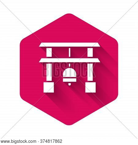 White Japan Gate Icon Isolated With Long Shadow. Torii Gate Sign. Japanese Traditional Classic Gate