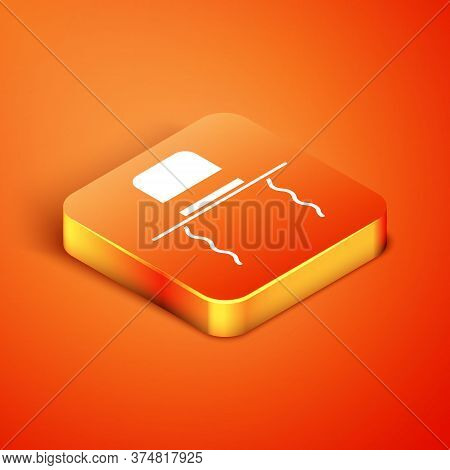Isometric Orthodox Jewish Hat With Sidelocks Icon Isolated On Orange Background. Jewish Men In The T