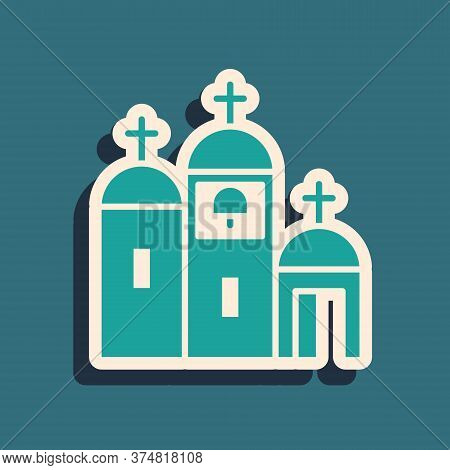 Green Church Building Icon Isolated On Green Background. Christian Church. Religion Of Church. Long