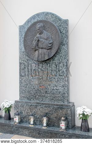 Lublin, Poland - June 11, 2020: Memorial Plaque To Jerzy Popieluszko, Polish Roman Catholic Priest W