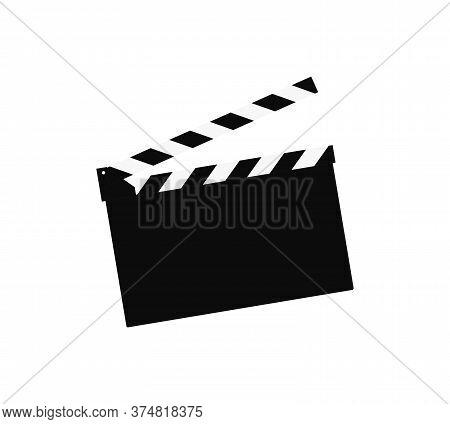 Cinema Clap Board Icon Vector Icon On White