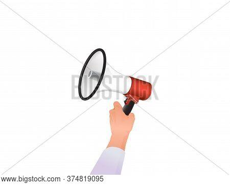 Hand Holds Loudspeaker. Loud Notification Of Emergency