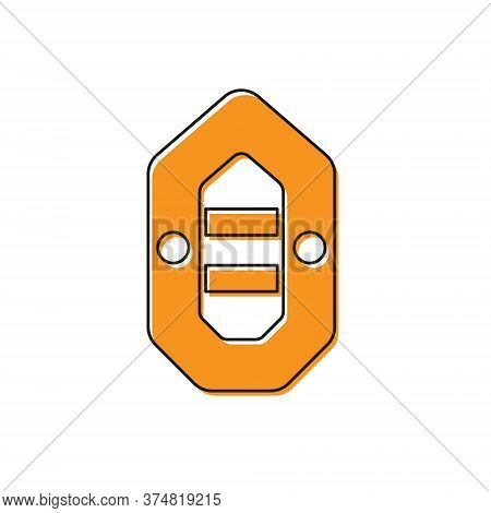 Orange Rafting Boat Icon Isolated On White Background. Inflatable Boat. Water Sports, Extreme Sports