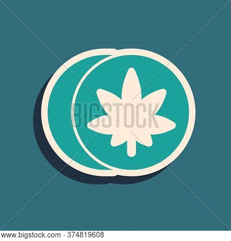 Green Herbal Ecstasy Tablets Icon Isolated On Green Background. Long Shadow Style. Vector Illustrati
