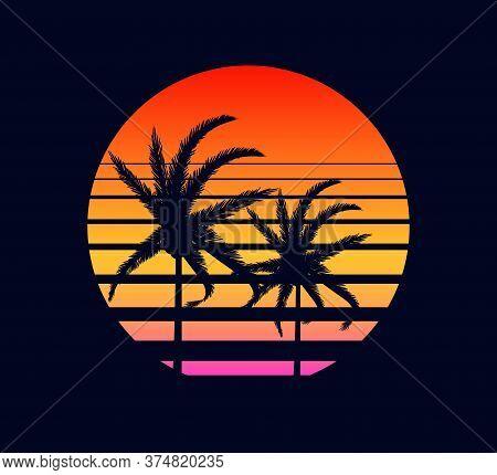 Retro Sunset Yellow Red. Rays Evening Setting