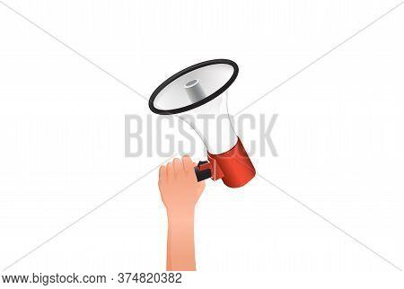 Female Hand Holds Loudspeaker. Notification Loud Of