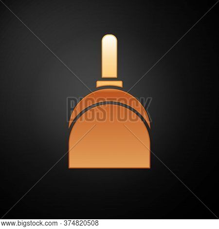 Gold Dustpan Icon Isolated On Black Background. Cleaning Scoop Services. Vector Illustration