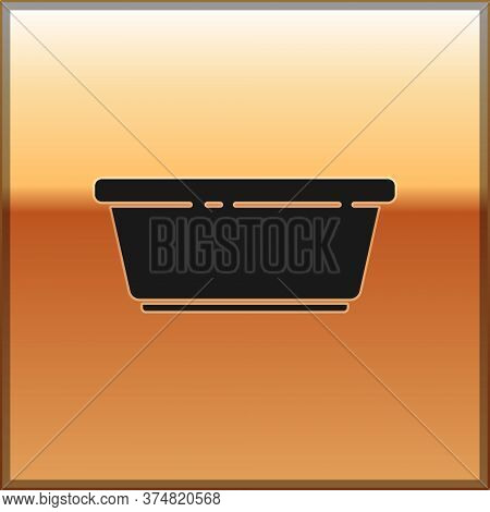 Black Plastic Basin Icon Isolated On Gold Background. Bowl With Water. Washing Clothes, Cleaning Equ