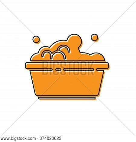 Orange Plastic Basin With Soap Suds Icon Isolated On White Background. Bowl With Water. Washing Clot