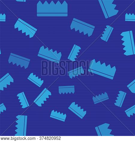 Blue Sponge With Bubbles Icon Isolated Seamless Pattern On Blue Background. Wisp Of Bast For Washing