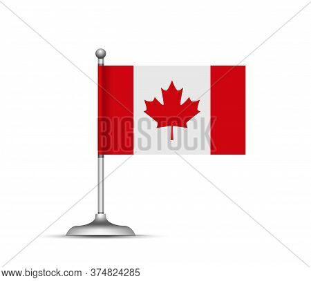 Canadian Flag Standing On White Background. Vector