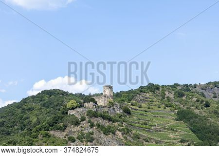 Gutenfels Fortress (german: Burg Gutenfels) In A Spring-like Landscape 110 M Above The Town Of Kaub