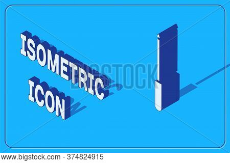 Isometric Knife Sharpener Icon Isolated On Blue Background. Vector Illustration