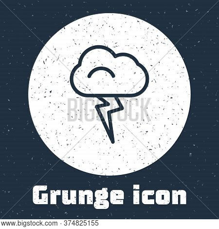 Grunge Line Storm Icon Isolated On Grey Background. Cloud And Lightning Sign. Weather Icon Of Storm.