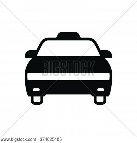 Black Solid Icon For Cab Taxi Transportation Vehicle Wheel Passenger Rental