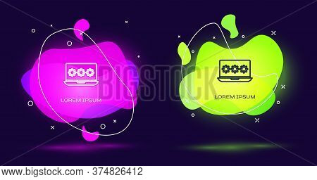 Line Laptop With Password Notification Icon Isolated On Black Background. Security, Personal Access,