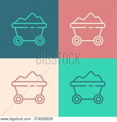 Pop Art Line Coal Mine Trolley Icon Isolated On Color Background. Factory Coal Mine Trolley. Vector