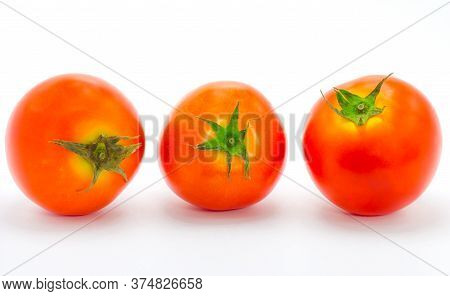 Fresh Tomatoes Isolate On White A Background.