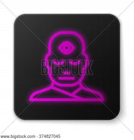 Glowing Neon Line Man With Third Eye Icon Isolated On White Background. The Concept Of Meditation, V