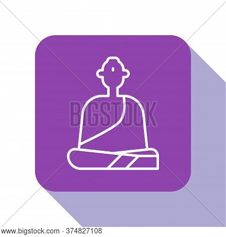 White Line Buddhist Monk In Robes Sitting In Meditation Icon Isolated On White Background. Purple Sq