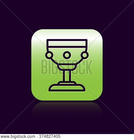 Black Line Christian Chalice Icon Isolated On Black Background. Christianity Icon. Happy Easter. Gre