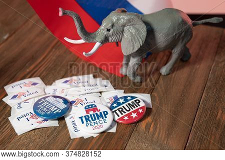 Washington Dc--july 4, 2020; Lay Flat Display Of Trump Campaign Buttons, I Voted Stickers, A Republi