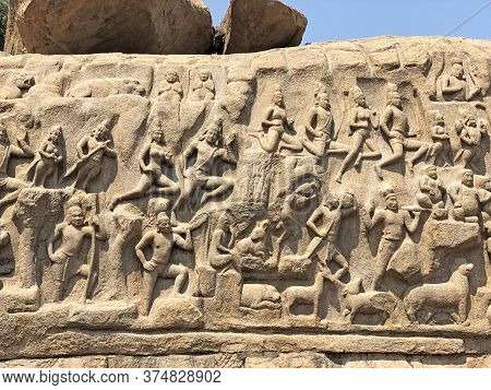 Descent Of The Ganges: A Giant Open Air Rock Cut Bas Relief Sculptures Of People, God, Animals Carve