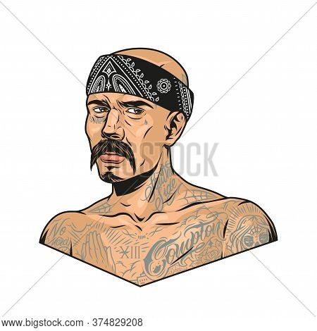 Mustached Latino Gangster With Chicano Tattoos And Bandana In Vintage Style Isolated Vector Illustra