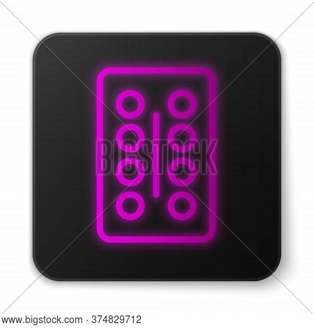 Glowing Neon Line Pills In Blister Pack Icon Isolated On White Background. Medical Drug Package For