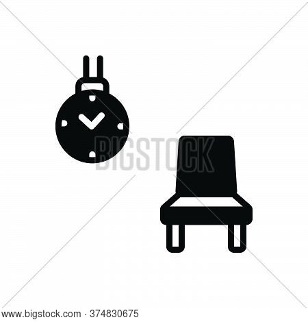 Black Solid Icon For Wait Outwait Room Chair Clock Delay Timepiece