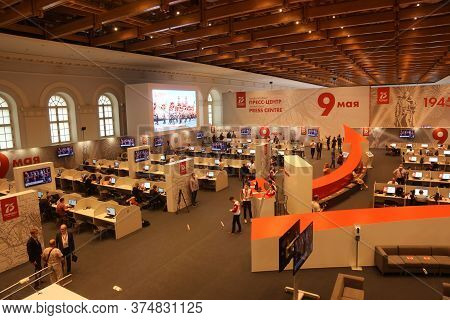 Moscow - June 24,2020. Journalists Work In International Press Center, Watch Victory Parade And Writ