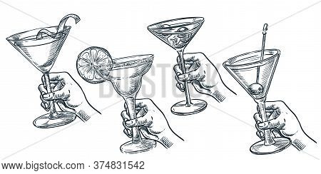 Human Holding Glass With Alcohol Cocktail. Vector Hand Drawn Sketch Illustration. Bar Drinks Menu De