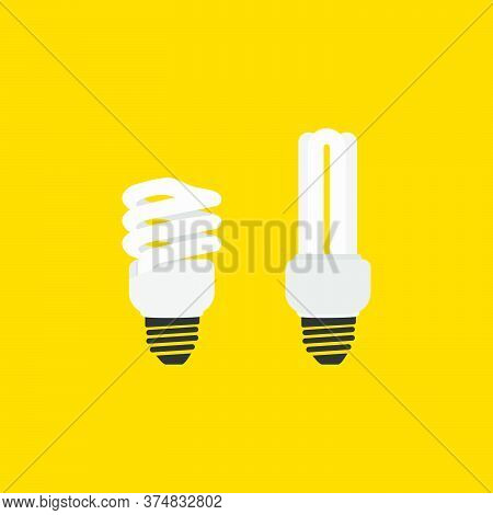 Fluorescent Lamp Vector Illustration. Good Template For Electricity Design.