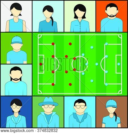 Watching Football Together With Video Teleconference Vector Illustration.