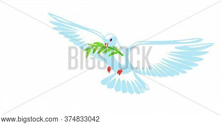 Dove Of Peace Purity Design. Pigeon With Green Olive Branch On White Background. Logo, Symbol Of Lov