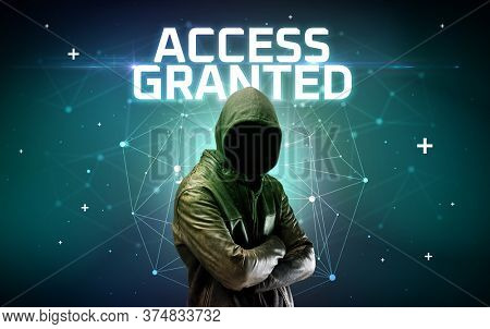Mysterious hacker with ACCESS GRANTED inscription, online attack concept inscription, online security concept
