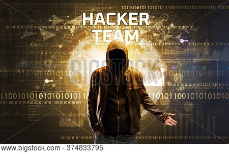 Faceless hacker at work with HACKER TEAM inscription, Computer security concept