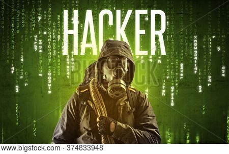 Faceless hacker with HACKER inscription, hacking concept