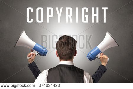 Rear view of a businessman with COPYRIGHT inscription, cyber security concept
