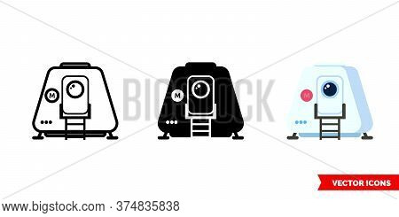 Spacecraft Icon Of 3 Types. Isolated Vector Sign Symbol.