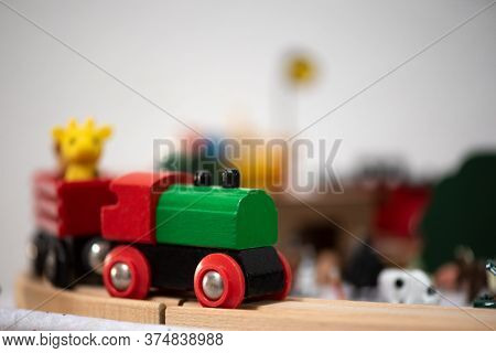 Selective Focus On The Front Portion Of A Locomotive Of A Circus Train, Holliday Concept, Aeclectic