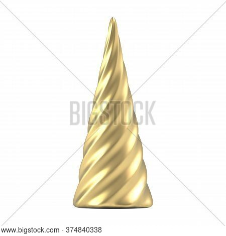 Realistic Gold Christmas Abstract Fir Tree In The Form Of A Spiral.