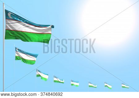 Wonderful Any Holiday Flag 3d Illustration  - Many Uzbekistan Flags Placed Diagonal With Selective F