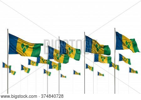 Nice Day Of Flag 3d Illustration  - Saint Vincent And The Grenadines Isolated Flags Placed In Row Wi