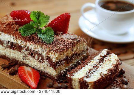 Tiramisu. Tiramisu Cake With Coffee.tiramisu With Strawberries And Mint