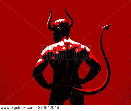 Devil Muscular Strong Man With Horns And Tail From Back View Vector Illustration, Powerful Demon, Th