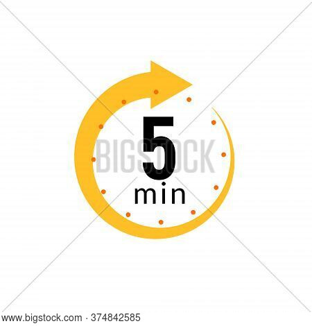 5 Minutes Clock Quick Number Icon. 5min Time Circle Icon